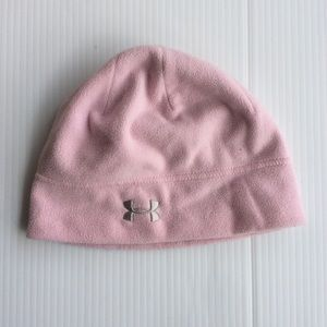 Youth Under Armour Pink Fleece Beanie